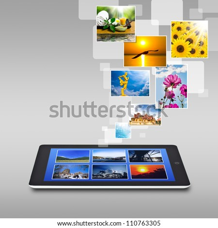 touchscreen tablet - stock photo