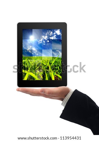 Touchscreen tablet with nature photograph inside