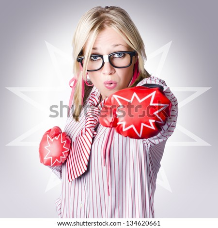 Tough business woman packing a punch of strength and power wearing boxing gloves on starburst background