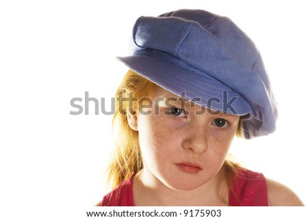 tough girl with blue hat - stock photo