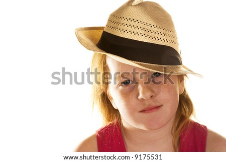 tough girl with straw hat in the summer - stock photo