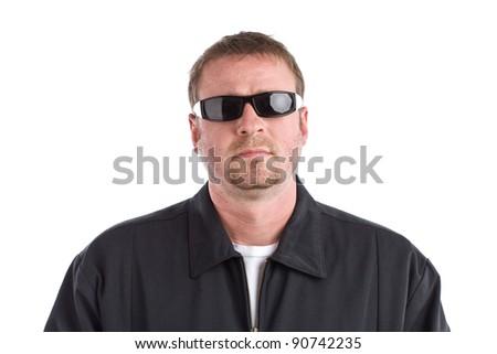 Tough Guy Wearing Glasses - stock photo