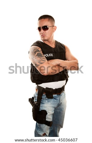 Tough Hispanic Cop with Pistol in Bulletproof Vest