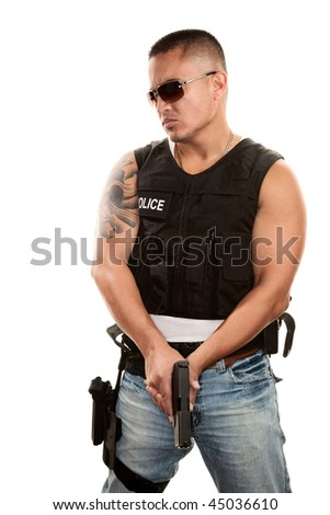Tough Hispanic Cop with Pistol in Bulletproof Vest - stock photo