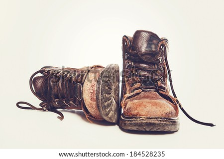 Tough work boots - stock photo
