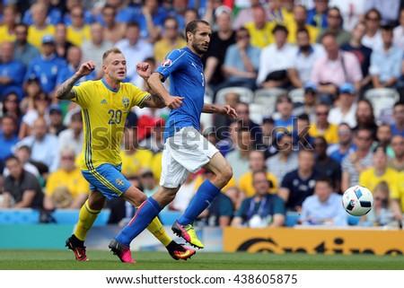 TOULOSE- FRANCE,  JUNE 2016 : Chiellin, Guidetti  in action during football match  of Euro 2016  in France between ITALY VS SWEDEN at the Stade Municipal on June 17, 2016 in Toulose