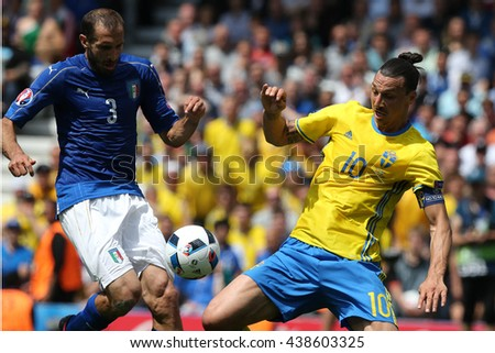 TOULOSE- FRANCE,  JUNE 2016 :Ibrahimovic Chiellini in action during football match  of Euro 2016  in France between ITALY VS SWEDEN at the Stade Municipal on June 17, 2016 in Toulose
