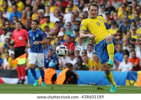 TOULOSE- FRANCE,  JUNE 2016 : Kallstrom  in action during football match  of Euro 2016  in France between ITALY VS SWEDEN at the Stade Municipal on June 17, 2016 in Toulose