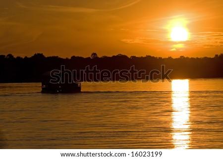 Tour Boat on the Zambezi - stock photo