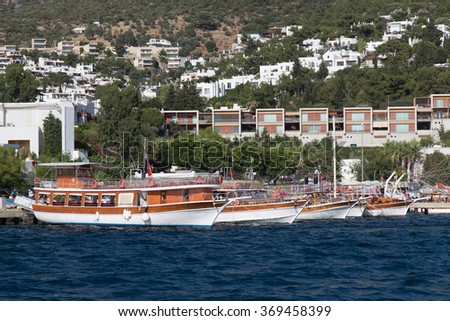 Tour Boats in Bodrum Port, Mugla City, Turkey - stock photo