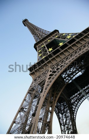 Tour d'Eiffel against the evening sky, Paris