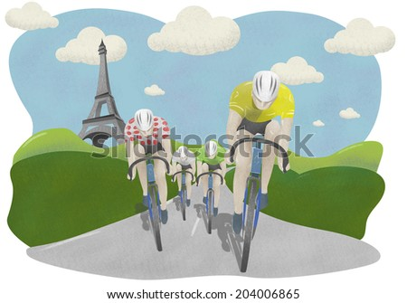 Tour de France cyclists with Eiffel Tower Background - stock photo
