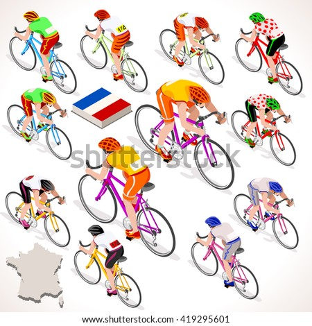 Tour de France. France racing cyclist riding bicycle path. Flat 3D isometric people set of cyclist icons. Isometric bicycle race Cycling icon. Winner Yellow Shirt. Winning Bicyclist Podium Goal - stock photo