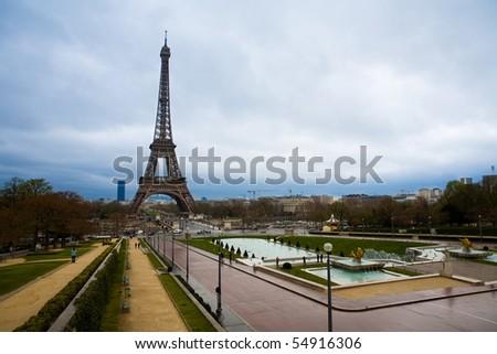 Tour Eiffel, Paris. Cloudy Day. - stock photo