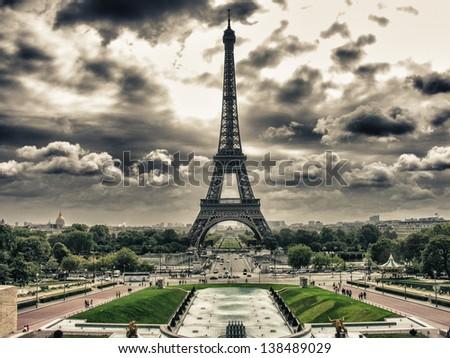 Tour Eiffel, Paris. Wonderful view of famous Tower from Trocadero Gardens. - stock photo
