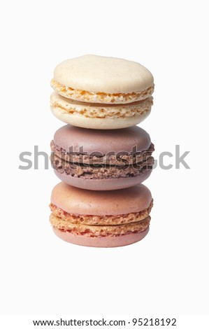 Tour of coloreful  french macaroons, isolated on white background, - stock photo
