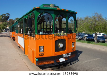 Tour trolley; Old Town; San Diego, California - stock photo