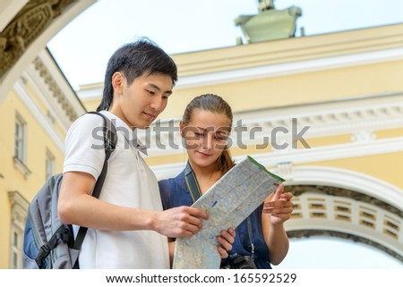 Tourism and travel concept young tourists handsome asian boy and