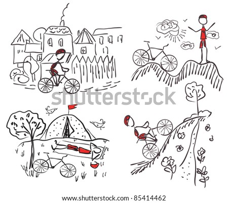 Tourism bycicle doodle sketches - stock photo