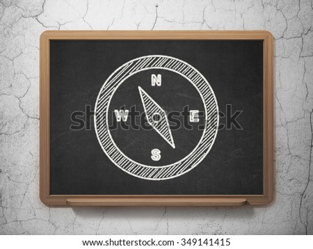 Tourism concept: Compass icon on Black chalkboard on grunge wall background