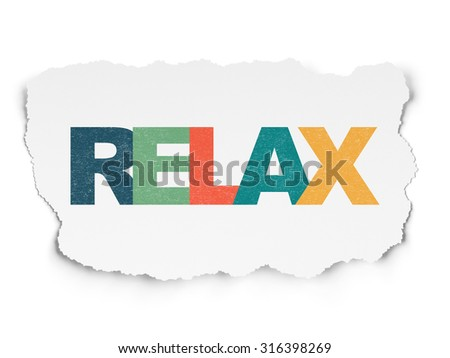 Tourism concept: Painted multicolor text Relax on Torn Paper background