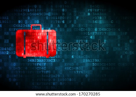 Tourism concept: pixelated Bag icon on digital background, empty copyspace for card, text, advertising, 3d render - stock photo