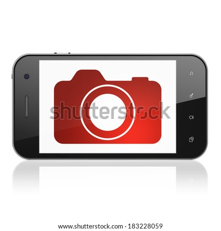 Tourism concept: smartphone with Photo Camera icon on display. Mobile smart phone on White background, cell phone 3d render - stock photo
