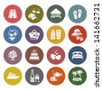 Tourism, Recreation & Vacation, icons set - Retro color version. Vector version (eps) also available in gallery - stock photo