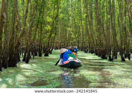 Tourism rowing boat in Mekong delta, Vietnam