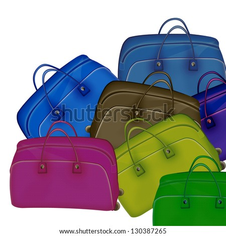 Tourism. Travel bags. Raster illustration