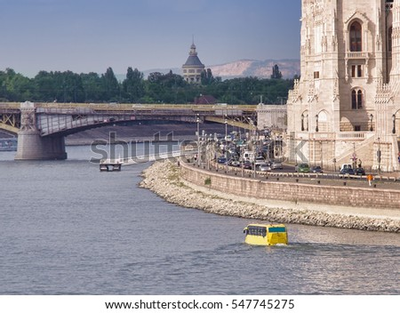 tourism with bus on water, Budapest city travel