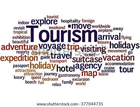 Tourism word cloud concept on white background.