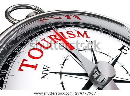 tourism word on conceptual compass, isolated on white background