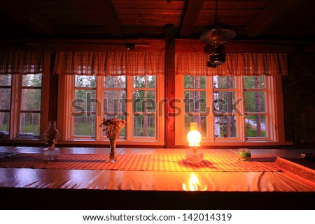 tourist accommodation lodge in finland nature and wildlife observation huts - stock photo