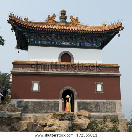 Tourist at a palace, Four Great Regions, Summer Palace, Haidian District, Beijing, China - stock photo