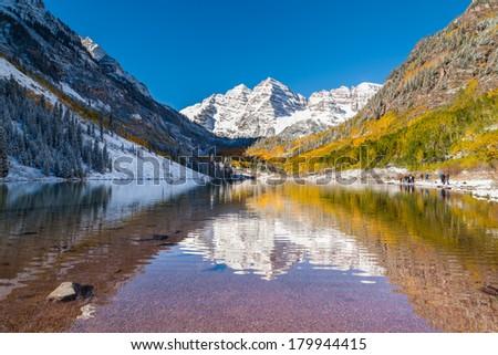 tourist at Maroon bells national park, Aspen, CO - stock photo