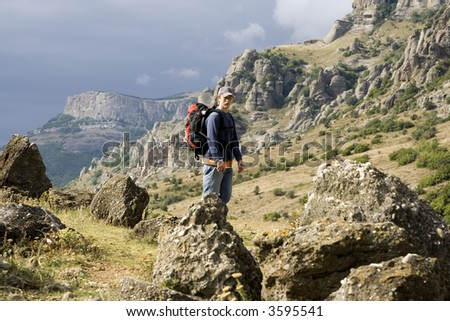Tourist at mountains of crimea