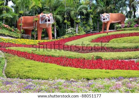 Tourist Attraction : A beautiful Butterfly Hill at Nong Nooch Tropical Botanical Garden, Pattaya - stock photo