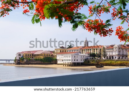 Tourist attractions and destination scenics. View of Casco Antiguo in Panama City - stock photo
