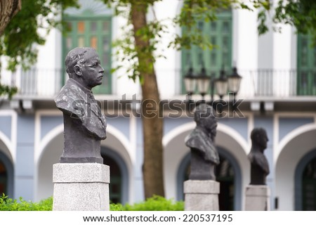 Tourist attractions and destination scenics. View of statues in the Cathedral square of Casco Antiguo, Panama City - stock photo