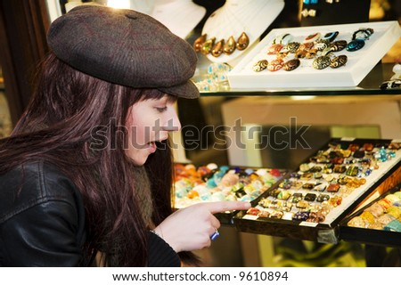 tourist attractions: tourist doing shopping in Italy - stock photo