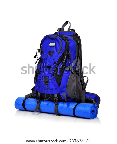 tourist backpack isolated on a white background - stock photo
