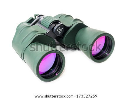 Tourist binoculars. Photo on a white background - stock photo