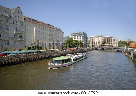 Tourist boat in the river Spree, Berlin,Germany