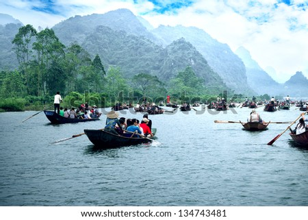 Tourist boat most popular place in Vietnam. - stock photo