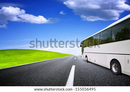 Tourist bus traveling - stock photo