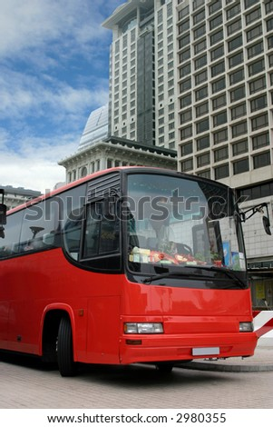 Tourist bus waiting for passengers (with clipping paths) - stock photo