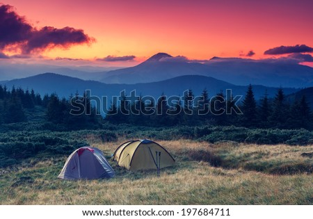 Tourist camp in a mountains. Carpathian, Ukraine, Europe. Beauty world. - stock photo