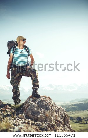 Tourist comes to the mountains