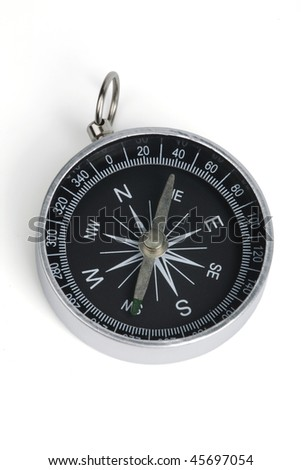 Tourist compass on a white background.